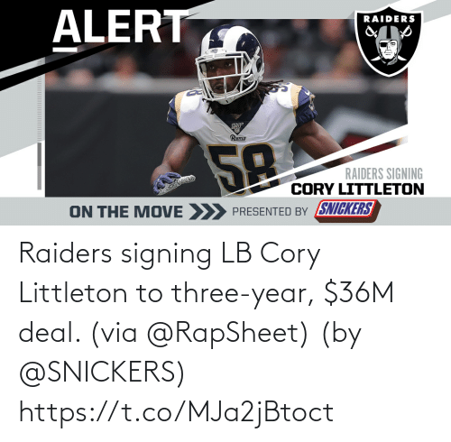 via: Raiders signing LB Cory Littleton to three-year, $36M deal. (via @RapSheet)  (by @SNICKERS) https://t.co/MJa2jBtoct