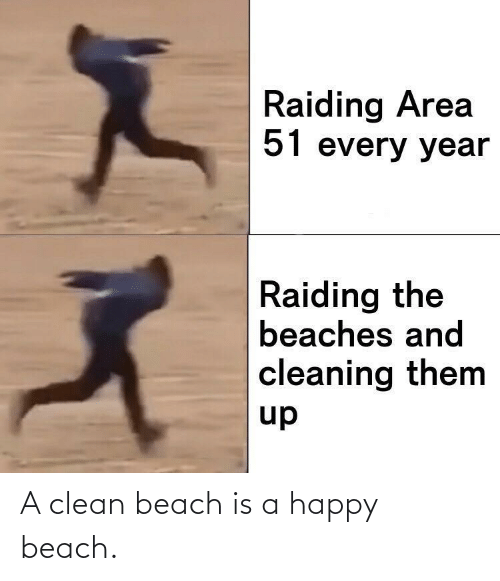 Area: Raiding Area  51 every year  Raiding the  beaches and  cleaning them  up A clean beach is a happy beach.