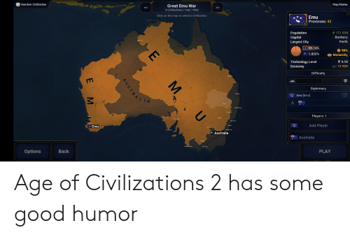 Random Civilization Map Modes Great Emu War 2 Civilizations