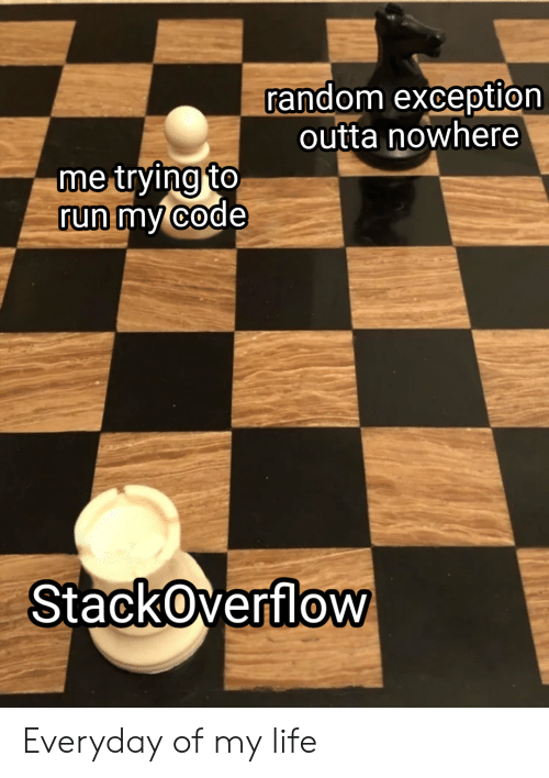 Life, Run, and Outta: random exception  outta nowhere  me trying to  run my code  StackOverflow Everyday of my life