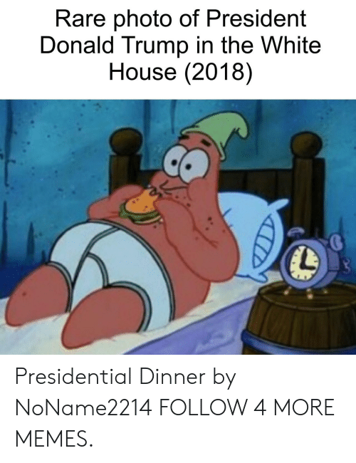President Donald: Rare photo of President  Donald Trump in the White  House (2018) Presidential Dinner by NoName2214 FOLLOW 4 MORE MEMES.