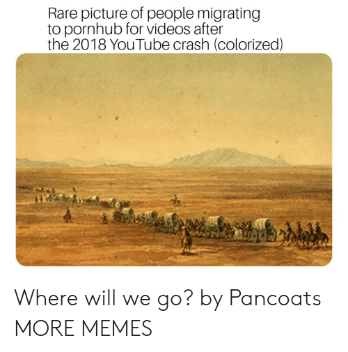 Dank, Memes, and Pornhub: Rare picture of people migrating  to pornhub for videos after  the 2018 YouTube crash (colorized) Where will we go? by Pancoats MORE MEMES