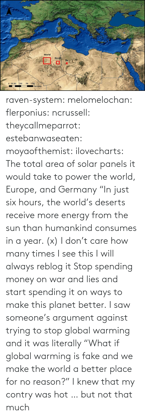 "much: raven-system:  melomelochan:   flerponius:  ncrussell:  theycallmeparrot:  estebanwaseaten:  moyaofthemist:  ilovecharts:  The total area of solar panels it would take to power the world, Europe, and Germany    ""In just six hours, the world's deserts receive more energy from the sun than humankind consumes in a year. (x)  I don't care how many times I see this I will always reblog it  Stop spending money on war and lies and start spending it on ways to make this planet better.   I saw someone's argument against trying to stop global warming and it was literally ""What if global warming is fake and we make the world a better place for no reason?""  I knew that my contry was hot … but not that much"