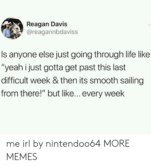"""Dank, Life, and Memes: Reagan Davis  @reagannbdaviss  Is anyone else just going through life like  """"yeah i just gotta get past this last  difficult week & then its smooth sailing  from there!"""" but like... every week me irl by nintendoo64 MORE MEMES"""