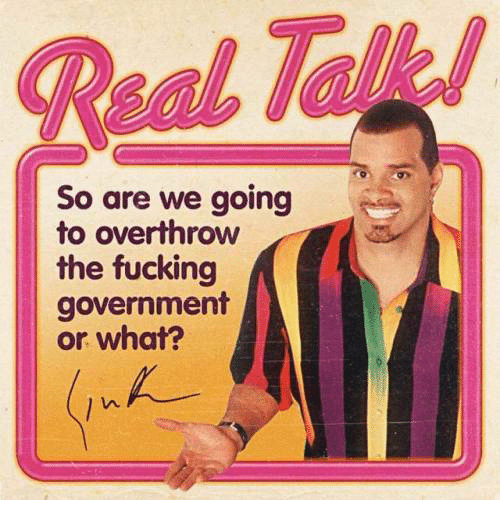 Fucking, Government, and Real: Real Talk  So are we going  to overthrow  the fucking  government  or what?
