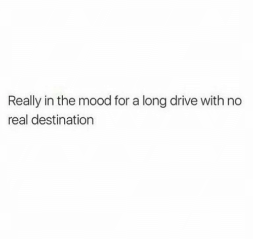 Mood, Drive, and Real: Really in the mood for a long drive with no  real destination