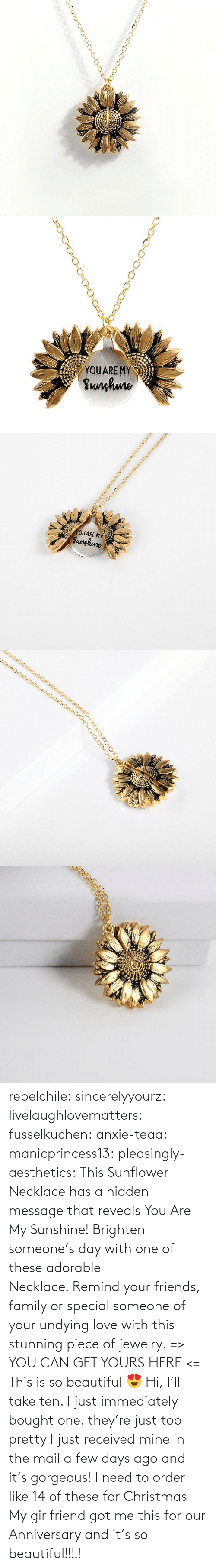 yours: rebelchile:  sincerelyyourz:  livelaughlovematters:  fusselkuchen:  anxie-teaa:   manicprincess13:   pleasingly-aesthetics:  This Sunflower Necklace has a hidden message that reveals You Are My Sunshine! Brighten someone's day with one of these adorable Necklace! Remind your friends, family or special someone of your undying love with this stunning piece of jewelry. => YOU CAN GET YOURS HERE <=   This is so beautiful 😍    Hi, I'll take ten.    I just immediately bought one. they're just too pretty   I just received mine in the mail a few days ago and it's gorgeous!   I need to order like 14 of these for Christmas    My girlfriend got me this for our Anniversary and it's so beautiful!!!!!