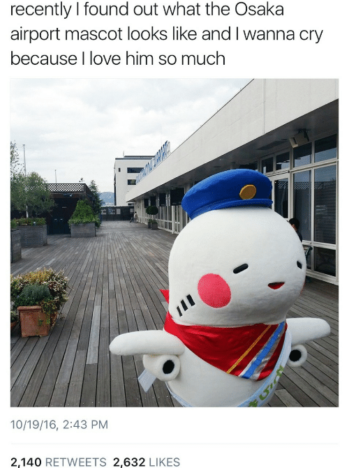airport: recently I found out what the Osaka  airport mascot looks like and I wanna cry  because I love him so much  10/19/16, 2:43 PM  2,140 RETWEETS 2,632 LIKES