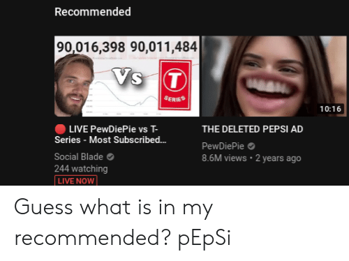 Recommended 90016398 90011484 SERIES 1016 LIVE PewDiePie vs