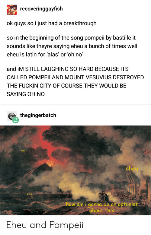 How, Song, and Latin: recoveringgayfish  ok guys so i just had a breakthrough  so in the beginning of the song pompeii by bastille it  sounds like theyre saying eheu a bunch of times well  eheu is latin for 'alas' or 'oh no'  and iM STILL LAUGHING SO HARD BECAUSE ITS  CALLED POMPEII AND MOUNT VESUVIUS DESTROYED  THE FUCKIN CITY OF COURSE THEY WOULD BE  SAYING OH NO  thegingerbatch  cheu  eh  eheu  how am i gonna be an optimistY  about this Eheu and Pompeii