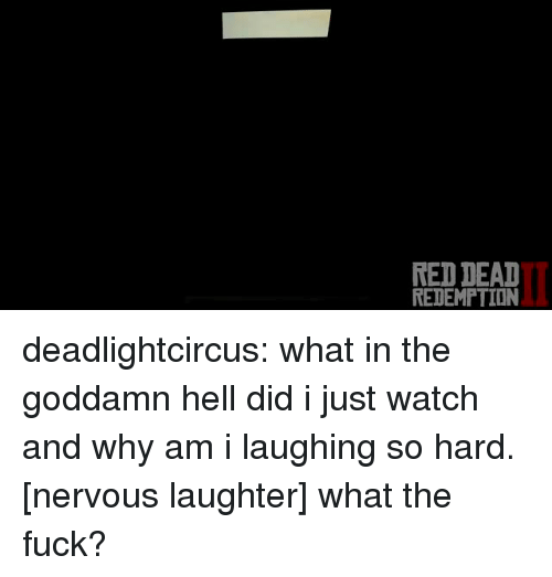 Tumblr, Blog, and Fuck: RED DEAT  REDEMPTION deadlightcircus:  what in the goddamn hell did i just watch and why am i laughing so hard.  [nervous laughter] what the fuck?