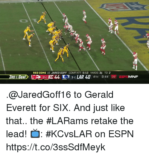 Espn, Memes, and Jared: RED ZONE 16 JARED GOFF COMP/ATT 5/13 YARDS: 31 TD: 2  3RD&GOBL  44 ) LAR 40 4TH 9:44 09ESPMNF .@JaredGoff16 to Gerald Everett for SIX.  And just like that.. the #LARams retake the lead!  📺: #KCvsLAR on ESPN https://t.co/3ssSdfMeyk