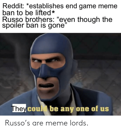 Reddit *Establishes End Game Meme Ban to Be Lifted* Russo