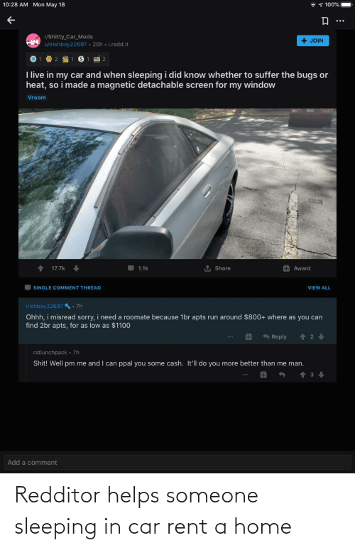car: Redditor helps someone sleeping in car rent a home