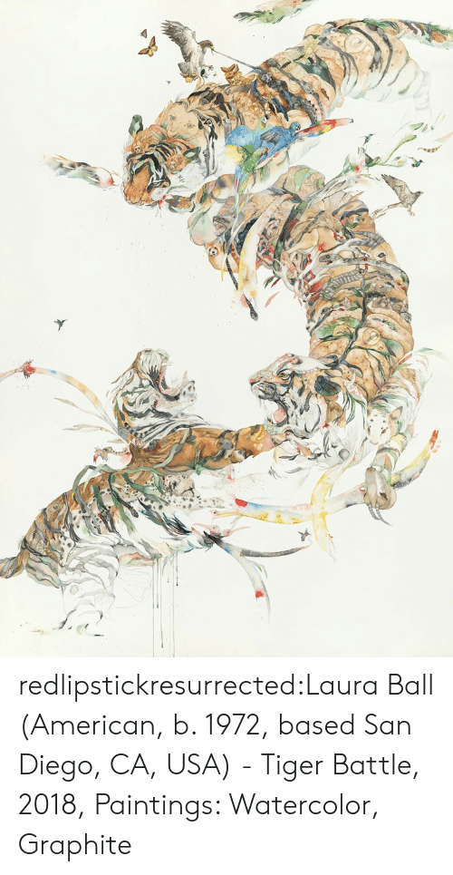 laura: redlipstickresurrected:Laura Ball (American, b. 1972, based San Diego, CA, USA) - Tiger Battle, 2018, Paintings: Watercolor, Graphite
