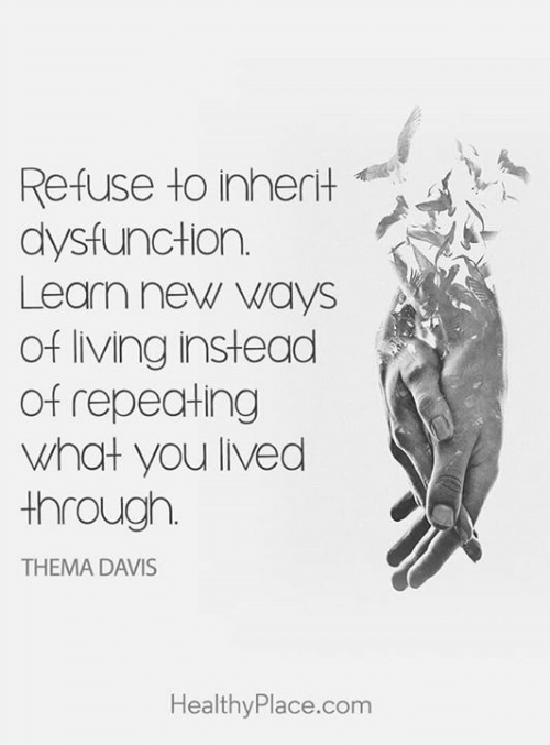 Memes, Living, and 🤖: Refuse to inherit  dysfunction.  Learn new ways  of living instead  Of repeaHing  what you lived  through.  THEMA DAVIS  HealthyPlace.com