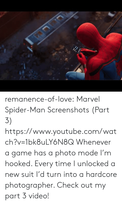 Love, Spider, and SpiderMan: remanence-of-love:  Marvel Spider-Man Screenshots (Part 3) https://www.youtube.com/watch?v=1bk8uLY6N8Q   Whenever a game has a photo mode I'm hooked. Every time I unlocked a new suit I'd turn into a hardcore photographer. Check out my part 3 video!