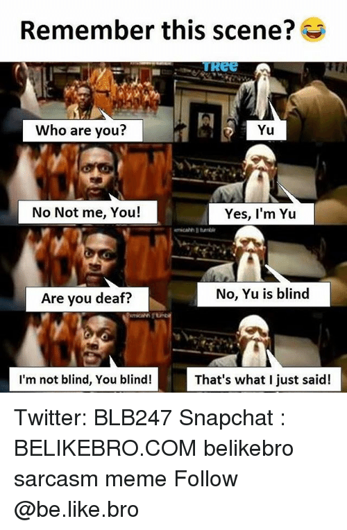 Broing: Remember this scene?  ReE  Who are you?  Yu  No Not me, You!  Yes, I'm Yu  Are you deaf?  No, Yu is blind  I'm not blind, You blind!  That's what I just said! Twitter: BLB247 Snapchat : BELIKEBRO.COM belikebro sarcasm meme Follow @be.like.bro