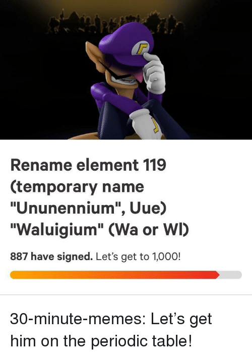 """periodic table: Rename element 119  (temporary name  """"Ununennium"""", Uue)  """"Waluigium"""" (Wa or WI)  887 have signed. Let's get to 1,000! 30-minute-memes:  Let's get him on the periodic table!"""