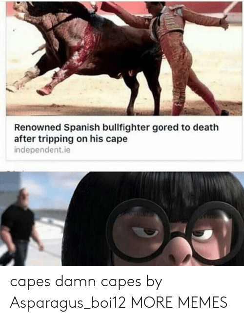 Renowned: Renowned Spanish bullfighter gored to death  after tripping on his cape  independent.ie  capes damn capes by Asparagus_boi12 MORE MEMES