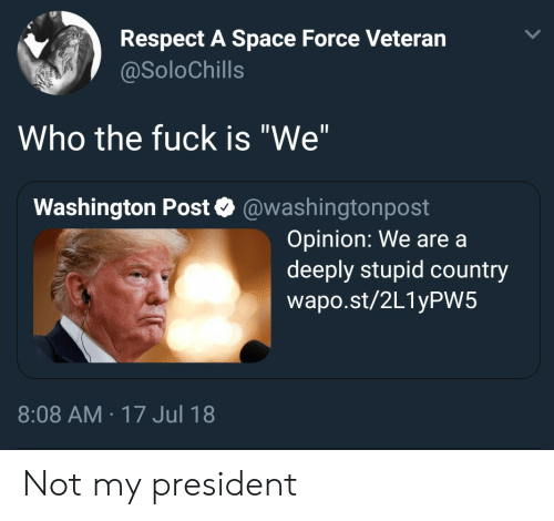 """Not My President: Respect A Space Force Veteran  @SoloChills  Who the fuck is """"We""""  Washington Post @washingtonpost  Opinion: We are a  deeply stupid country  wapo.st/2L1yPW5  8:08 AM 17 Jul 18 Not my president"""