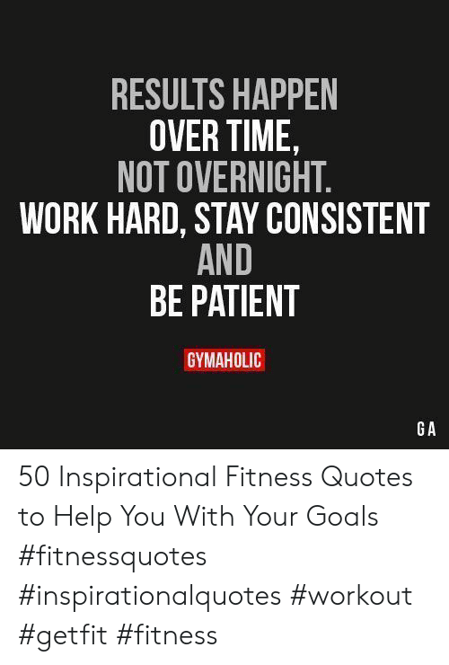 Results Happen Over Time Not Overnight Work Hard Stay Consistent And Be Patient Gymaholic Ga 50 Inspirational Fitness Quotes To Help You With Your Goals Fitnessquotes Inspirationalquotes Workout Getfit Fitness Goals