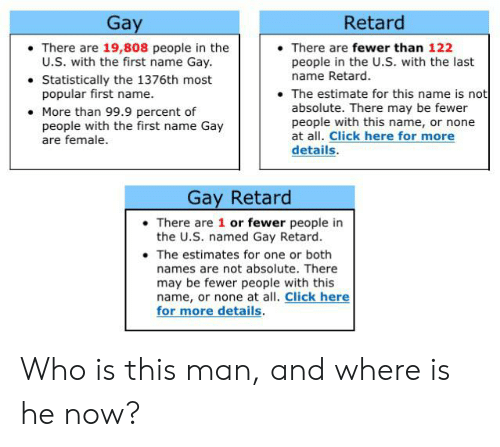 Click, Gay, and Who: Retard  Gay  There are 19,808 people in the  U.S. with the first name Gay  Statistically the 1376th most  popular first name.  There are fewer than 122  people in the U.S. with the last  name Retard  The estimate for this name is not  absolute. There may be fewer  people with this name, or none  at all. Click here for more  details.  More than 99.9 percent of  people with the first name Gay  are female  Gay Retard  There are 1 or fewer people in  the U.S. named Gay Retard  The estimates for one or both  names are not absolute. There  may be fewer people with this  name, or none at all. Click here  for more details. Who is this man, and where is he now?
