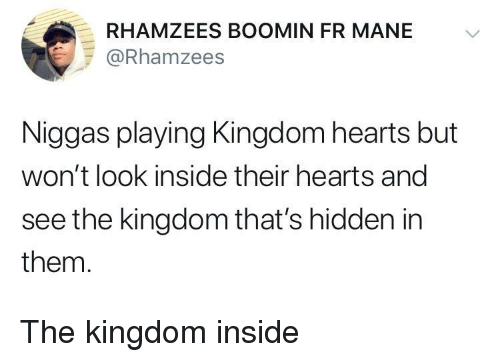 the kingdom: RHAMZEES BOOMIN FR MANE V  @Rhamzees  Niggas playing Kingdom hearts but  won't look inside their hearts and  see the kingdom that's hidden in  them. The kingdom inside