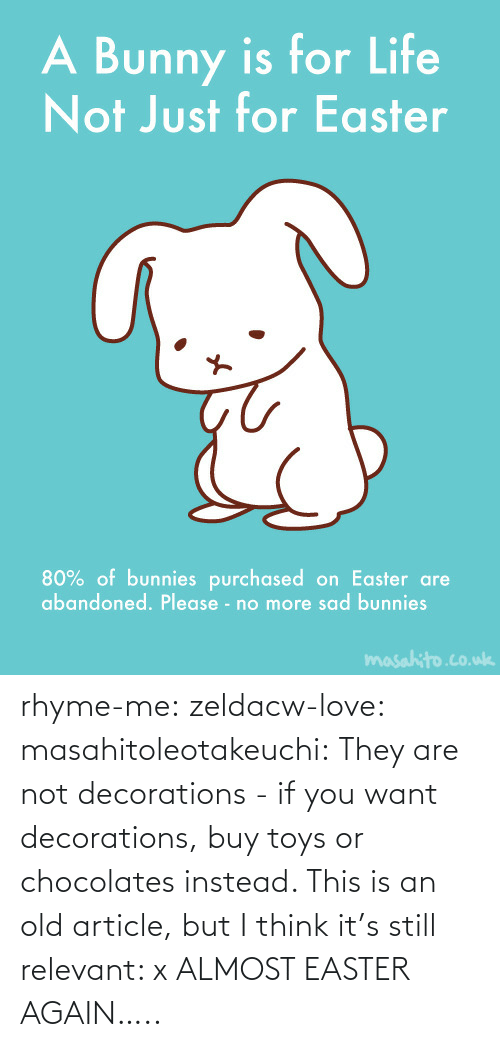 Are Not: rhyme-me:  zeldacw-love:  masahitoleotakeuchi:  They are not decorations - if you want decorations, buy toys or chocolates instead.  This is an old article, but I think it's still relevant: x  ALMOST EASTER AGAIN…..