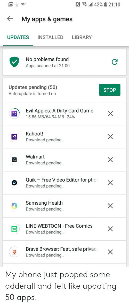 RI 11 42% 2110 56° Y Apps & Games UPDATES INSTALLED LIBRARY
