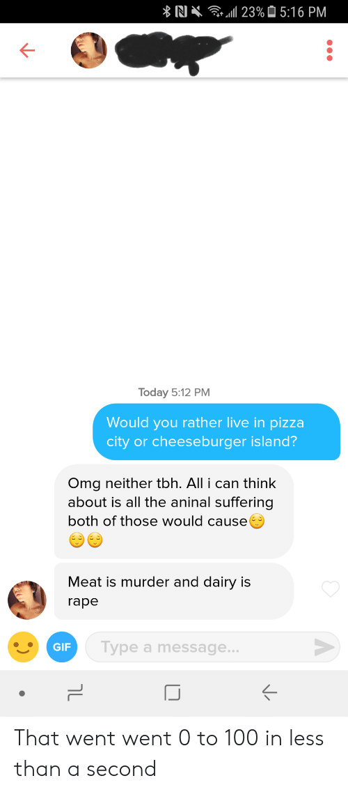 0 to 100: RI  111 23%  5:16 PM  Today 5:12 PM  Would you rather live in pizza  city or cheeseburger island?  Omg neither tbh. All i can think  about is all the aninal suffering  both of those would cause  Meat is murder and dairy is  rape  GIF  Type a message...  K- That went went 0 to 100 in less than a second