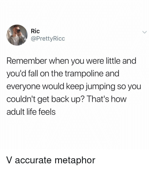 Fall, Funny, and Life: Ric  @PrettyRicc  Remember when you were little and  you'd fall on the trampoline and  everyone would keep jumping so you  couldn't get back up? That's how  adult life feels V accurate metaphor
