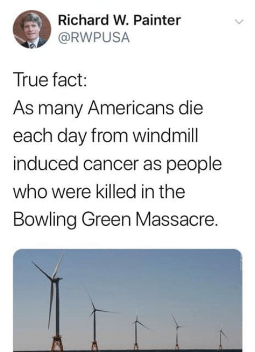True, Bowling, and Cancer: Richard W. Painter  @RWPUSA  True fact:  As many Americans die  each day from windmill  induced cancer as people  who were killed in the  Bowling Green Massacre.