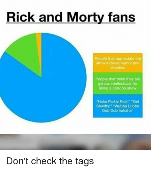 """Geniusism: Rick and Morty fans  People that appreciate the  show's clever humor and  storyline  People that think they are  genius intellectuals for  liking a cartoon show  """"Haha Pickle Rick!"""" Get  Shwifty!"""" """"Wubba Lubba  Dub Dub hahaha"""" Don't check the tags"""