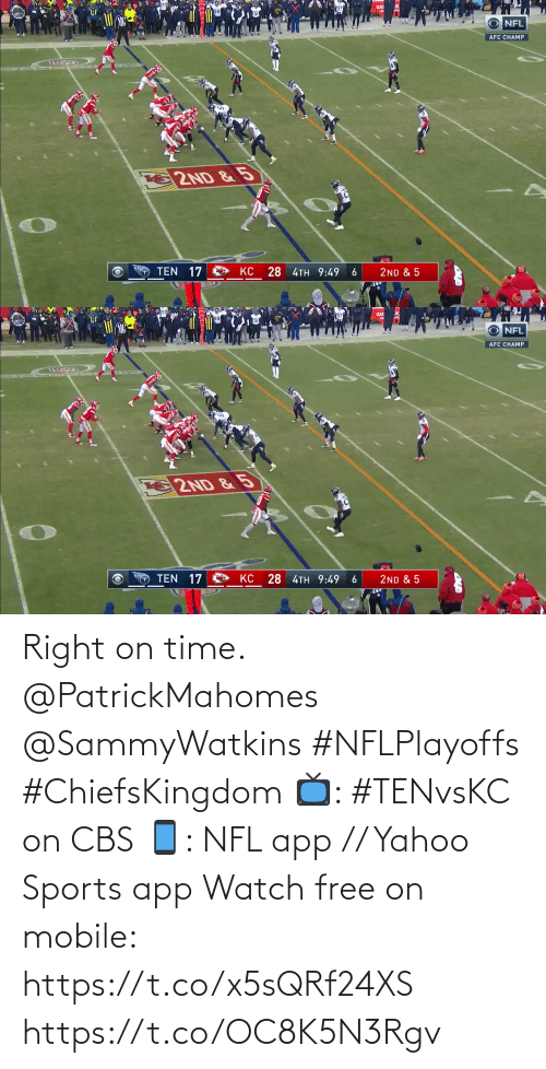 Time: Right on time. @PatrickMahomes @SammyWatkins #NFLPlayoffs #ChiefsKingdom  📺: #TENvsKC on CBS 📱: NFL app // Yahoo Sports app Watch free on mobile: https://t.co/x5sQRf24XS https://t.co/OC8K5N3Rgv