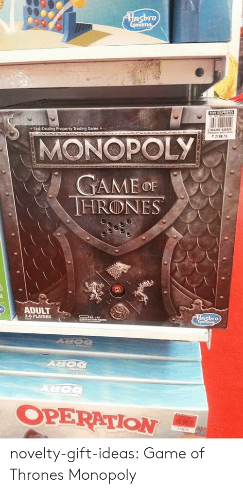 operation: ro  Fast-Dealing Property Trading Game*  P 2198 75  MONOPOLY  HRⓛNES  ME  ADULT  PLAYERS  ro  OPERATION- novelty-gift-ideas:  Game of Thrones Monopoly