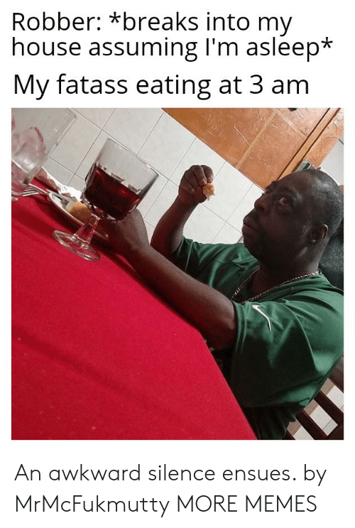 Dank, Memes, and My House: Robber: *breaks into my  house assuming I'm asleep*  My fatass eating at 3 am An awkward silence ensues. by MrMcFukmutty MORE MEMES