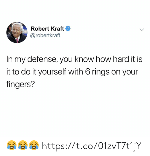 robert kraft: Robert Kraft  @robertkraft  In my defense, you know how hard it is  it to do it yourself with 6 rings on your  fingers? 😂😂😂 https://t.co/01zvT7t1jY