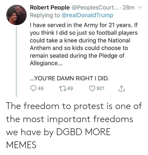 the national: Robert People @PeoplesCourt... 28m  Replying to @realDonaldTrump  I have served in the Army for 21 years. If  you think I did so just so football players  could take a knee during the National  Anthem and so kids could choose to  remain seated during the Pledge of  Allegiance...  ..YOU'RE DAMN RIGHT I DID.  L2.49  921  49 The freedom to protest is one of the most important freedoms we have by DGBD MORE MEMES