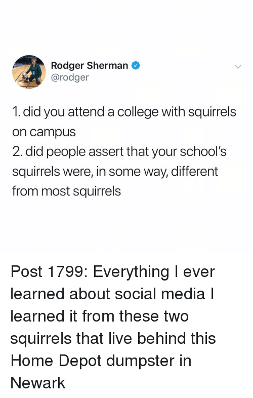 College, Memes, and Social Media: Rodger Sherman O  @rodger  1. did you attend a college with squirrels  on campus  2.did people assert that your school's  squirrels were, in some way, different  from most squirrels Post 1799: Everything I ever learned about social media I learned it from these two squirrels that live behind this Home Depot dumpster in Newark