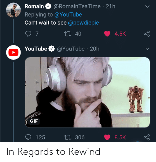 Gif, youtube.com, and Pewdiepie: Romain O @RomainTeaTime · 21h  Replying to @YouTube  Can't wait to see @pewdiepie  27 40  4.5K  @YouTube · 20h  YouTube  GIF  27 306  125  8.5K In Regards to Rewind