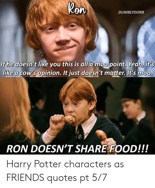 Share Food: Ron  DUMBLYDORR  If he doesn't like you this is all a moo point, Yeah, it's  like a cow's opinion. It just doesn't matter. It's moo.  RON DOESN'T SHARE FOOD!!! Harry Potter characters as FRIENDS quotes pt 5/7