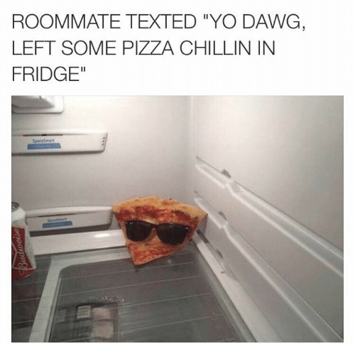 """yo dawg: ROOMMATE TEXTED YO DAWG,  LEFT SOME PIZZA CHILLIN IN  FRIDGE"""""""