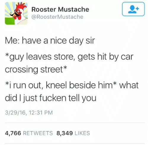 mustache: Rooster Mustache  @RoosterMustache  Me: have a nice day sir  *guy leaves store, gets hit by car  crossing street*  *i run out, kneel beside him* what  did I just fucken tell you  3/29/16, 12:31 PM  4,766 RETWEETS 8,349 LIKES