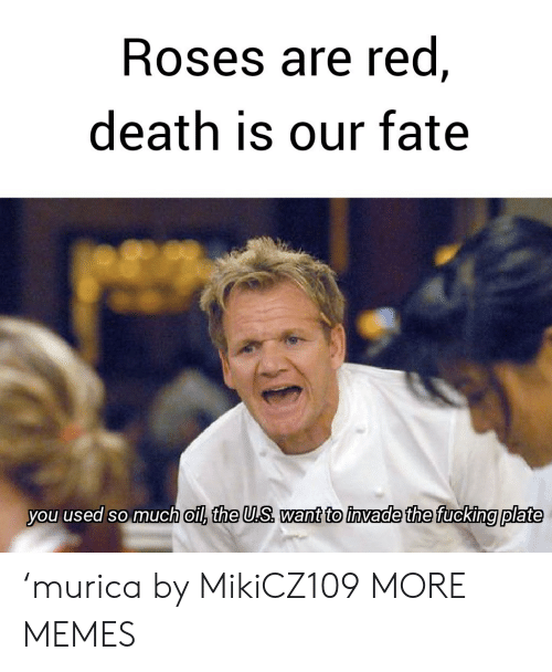 murica: Roses are red,  death is our fate  you used so much oil, the U.S want to invade the fucking plate 'murica by MikiCZ109 MORE MEMES