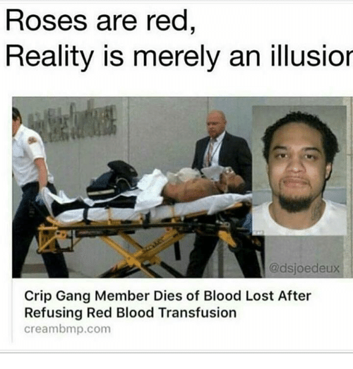 bmp: Roses are red  Reality is merely an illusior  @dsjoeddeux  Crip Gang Member Dies of Blood Lost After  Refusing Red Blood Transfusion  cream bmp.com
