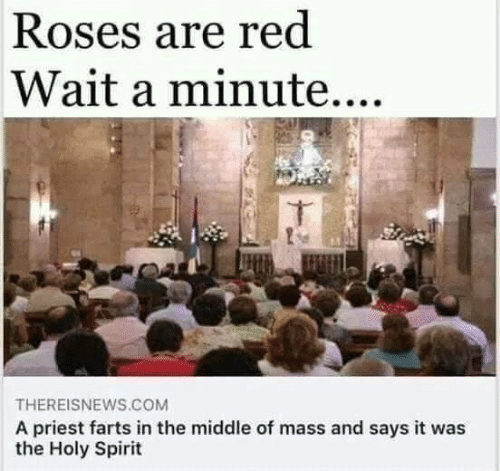 roses are red: Roses are red  Wait a minute....  THEREISNEWS.COM  A priest farts in the middle of mass and says it was  the Holy Spirit