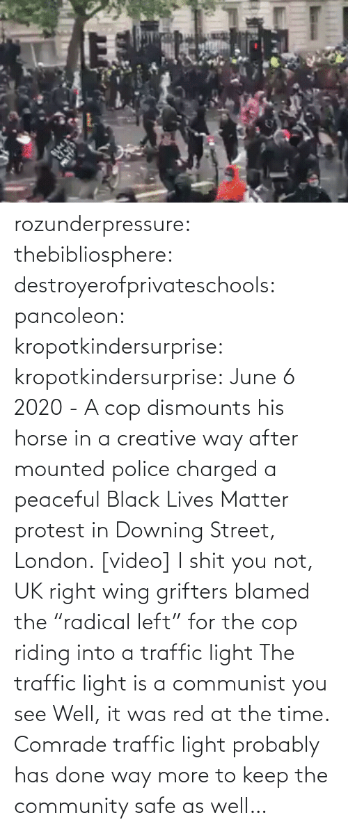 "way: rozunderpressure:  thebibliosphere: destroyerofprivateschools:  pancoleon:   kropotkindersurprise:  kropotkindersurprise: June 6 2020 - A cop dismounts his horse in a creative way after mounted police charged a peaceful Black Lives Matter protest in Downing Street, London. [video]    I shit you not, UK right wing grifters blamed the ""radical left"" for the cop riding into a traffic light    The traffic light is a communist you see    Well, it was red at the time.  Comrade traffic light probably has done way more to keep the community safe as well…"