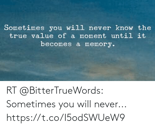 sometimes: RT @BitterTrueWords: Sometimes you will never... https://t.co/I5odSWUeW9