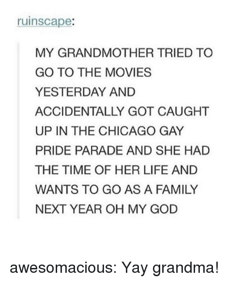 Chicago, Family, and God: ruinscape:  MY GRANDMOTHER TRIED TO  GO TO THE MOVIES  YESTERDAY AND  ACCIDENTALLY GOT CAUGHT  UP IN THE CHICAGO GAY  PRIDE PARADE AND SHE HAD  THE TIME OF HER LIFE AND  WANTS TO GO AS A FAMILY  NEXT YEAR OH MY GOD awesomacious:  Yay grandma!